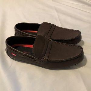 NIB Levi's Pierce Burnish Dark Brown Loafer Shoes